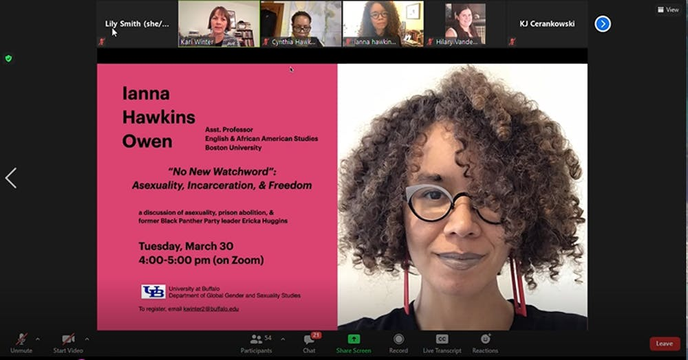 Ianna Hawkins Owen, assistant professor of English and African American Studies at Boston University, spoke at a free Zoom lecture through UB's Department of Global Gender and Sexuality Studies.