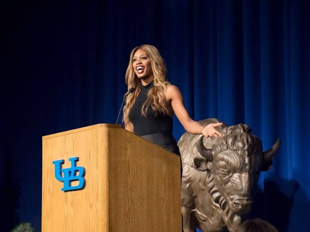 <p>Award-winning actress and transgender advocate Laverne Cox spoke at Alumni Arena on Wednesday as the first speaker in UB's annual Distinguished Speakers Series.</p>