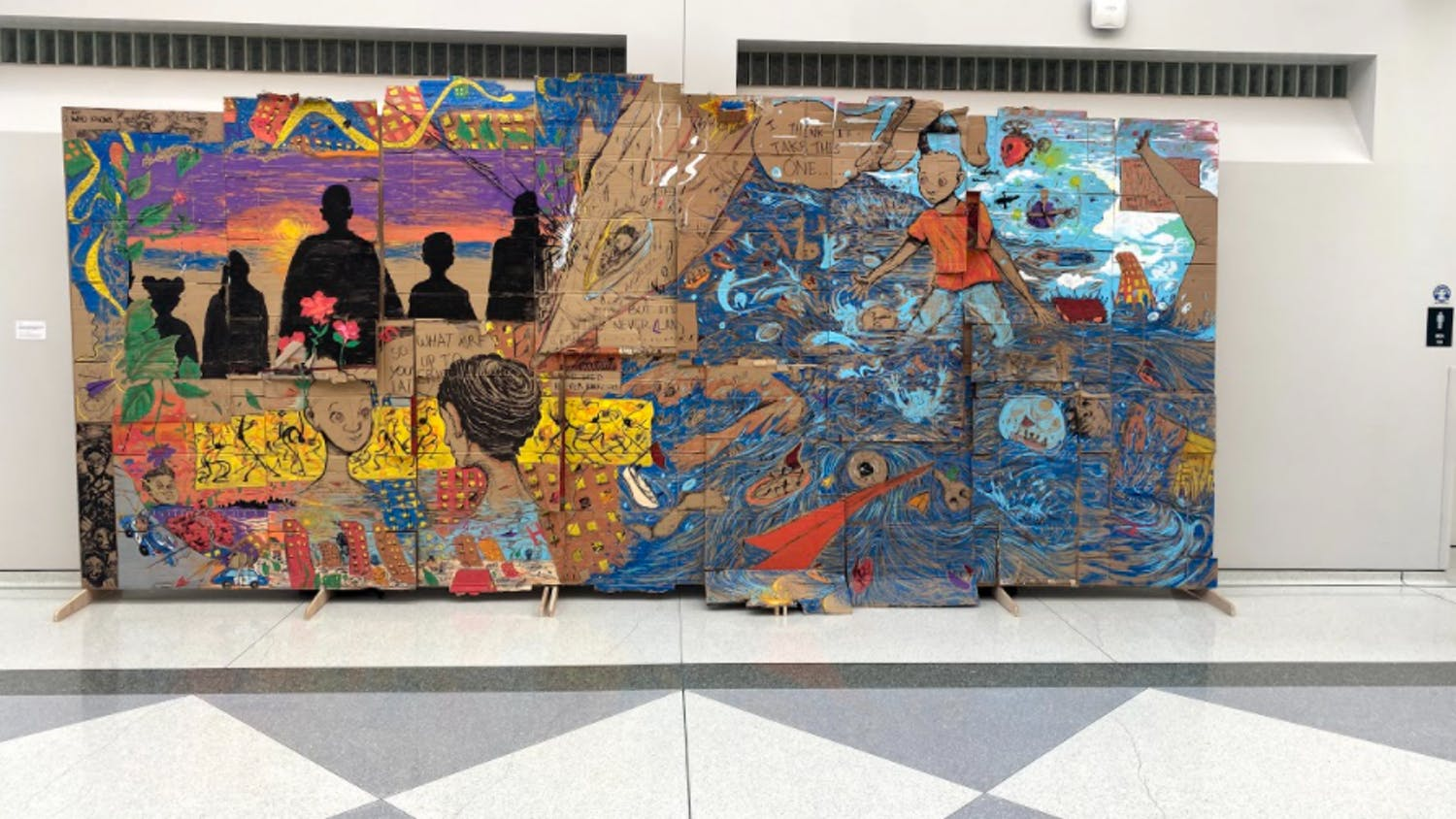 The CFA's Atrium gleams with beautiful colors from an illustrated universe of stories and happenings.