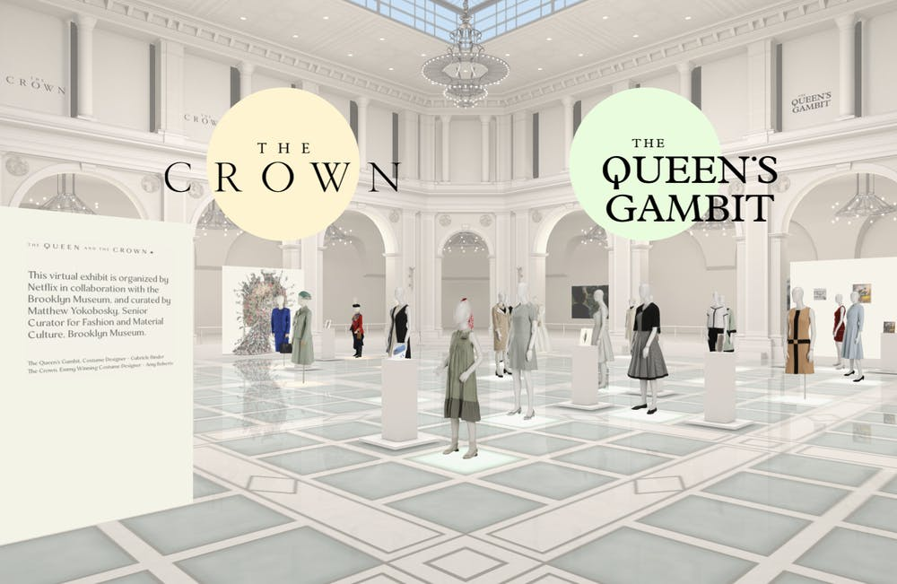 "You can virtually browse through the costumes from ""The Crown"" and ""The Queen's Gambit"""