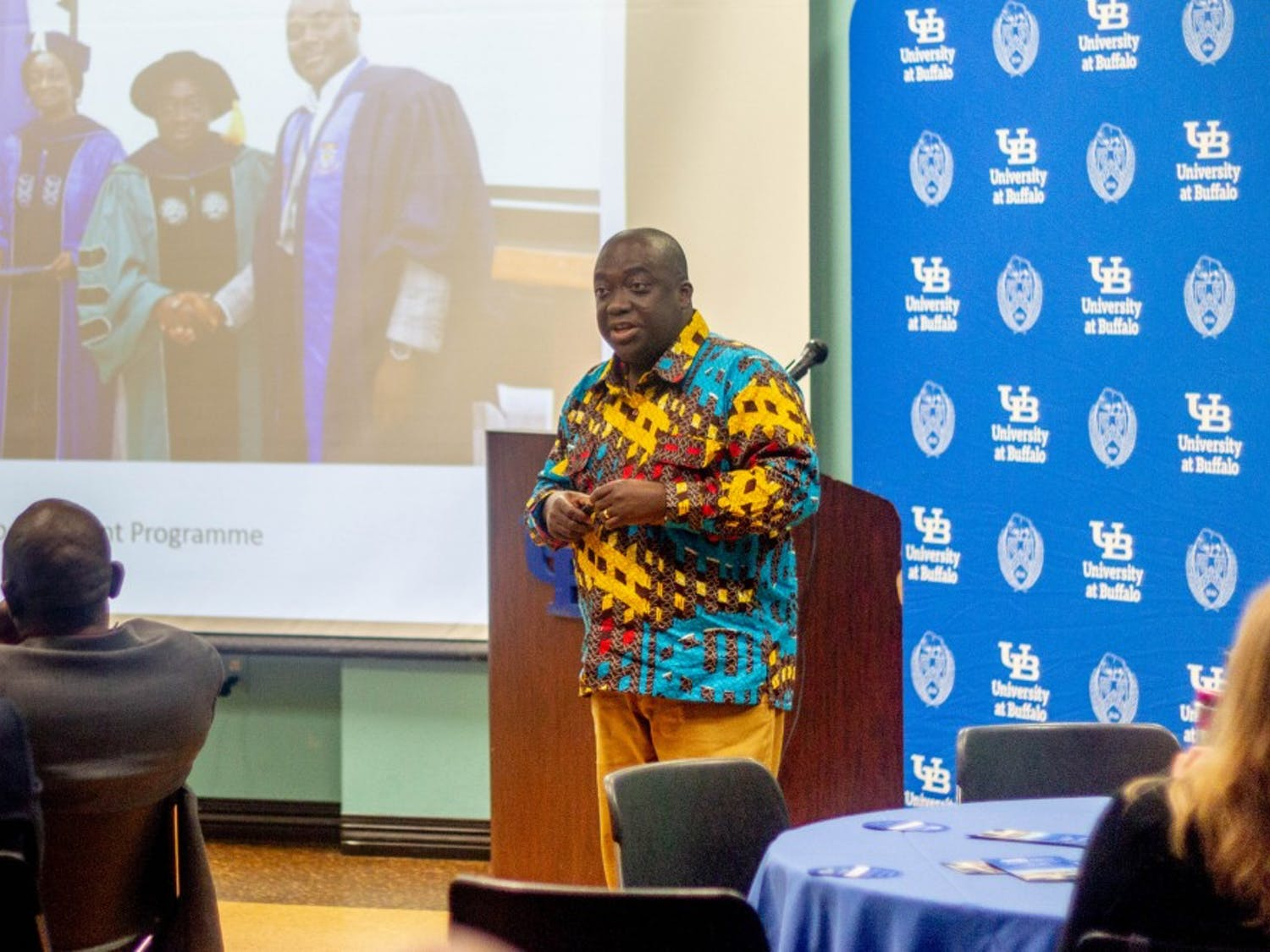 Michael Boakye-Yiadom, a research fellow at the Institute for Educational Planning and Administration at Ghana's University of Cape Coast, speaks during the inaugural Global Partner Studio institute.