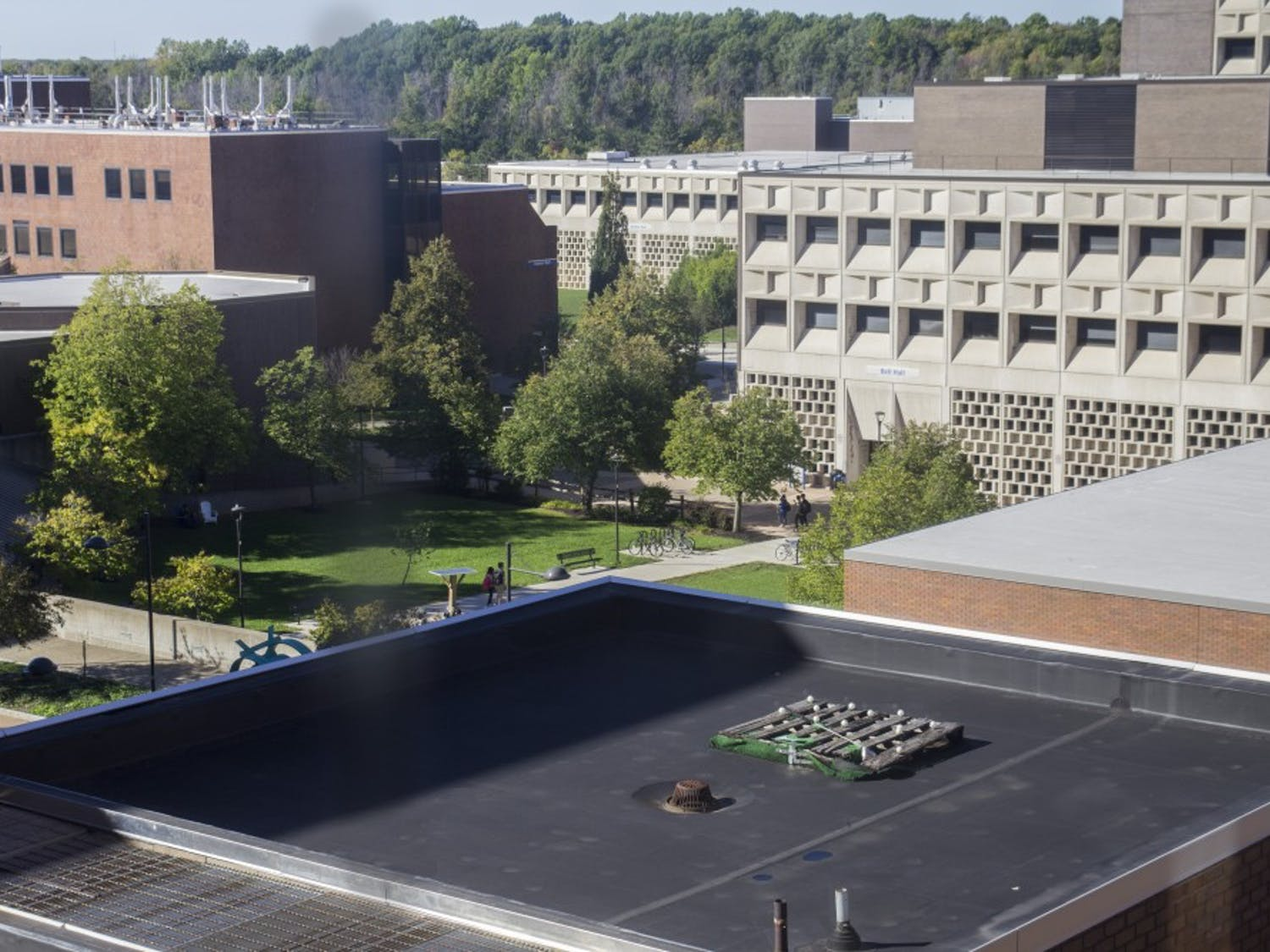 The golf tee on top of Baldy Hall is one of UB's hidden treasures on North Campus.