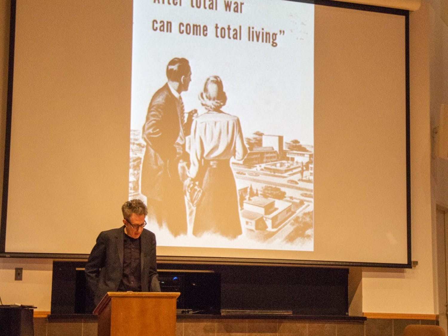 Damien Keane, director of graduate studies and professor in the English department, spoke at Monday's Humanities to the Rescue symposium. Keane talked about Marlene Dietrich, the invention of the LP and war advertisements.