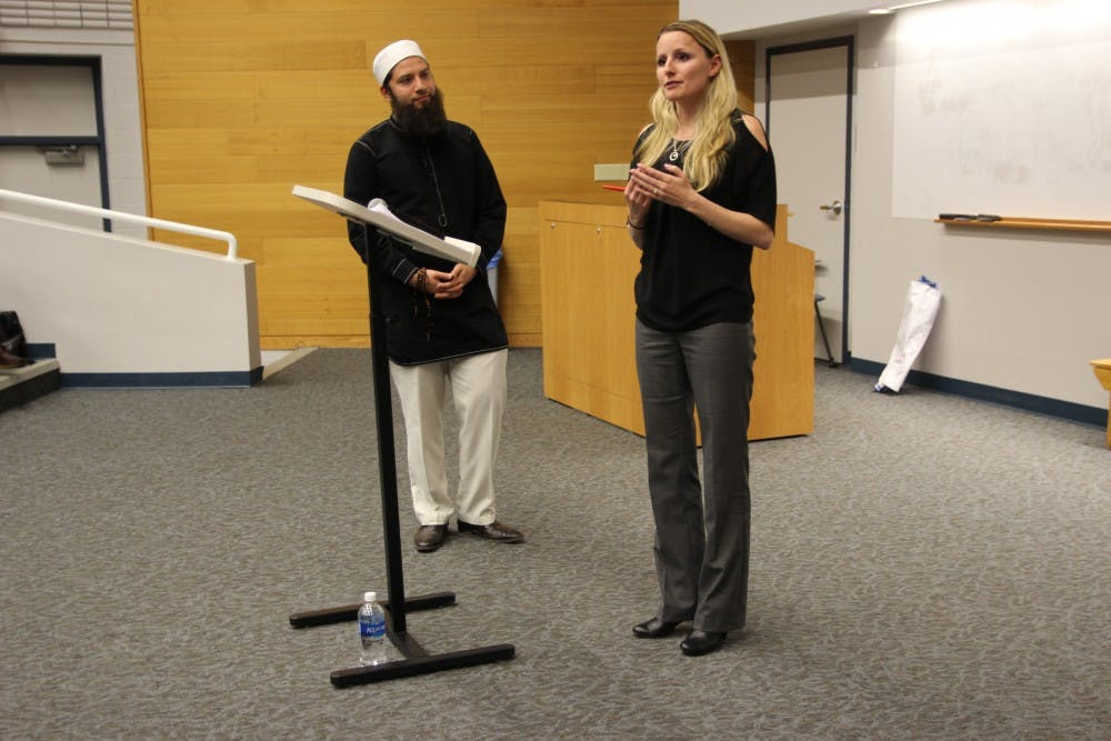 <p>Civil rights lawyer Hassan Shibly (left) addresses misconceptions about Islam.&nbsp;UB psychology professor Dr. Katharina Azim (right) discusses microaggressions and the&nbsp;mischaracterization of Muslims in the media.&nbsp;</p>