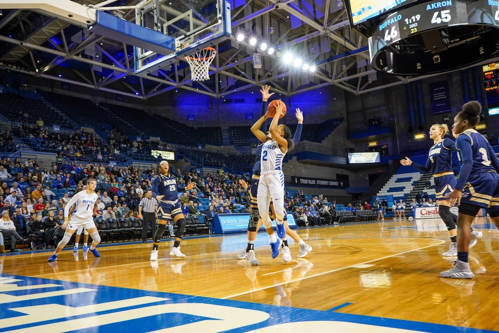 <p>Freshman guard Dyaisha Fair goes in for a shot during the game against the Akron Zips Wednesday night in the Alumni Arena.</p>