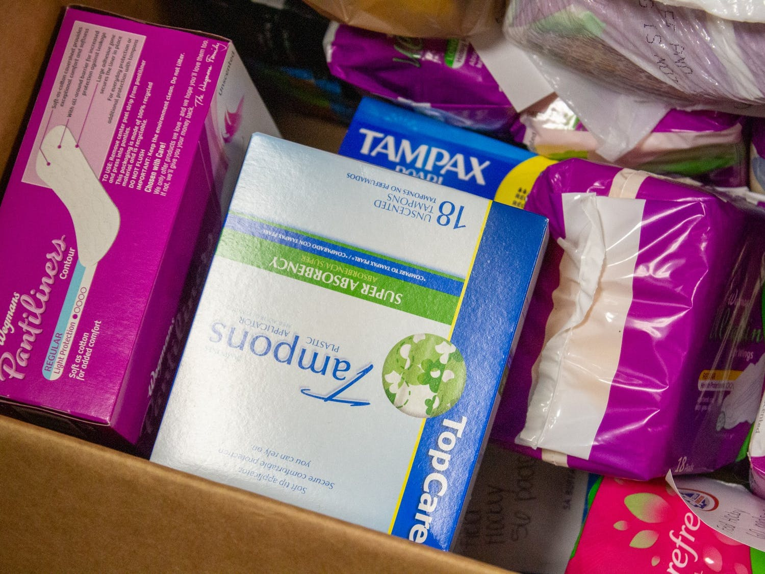 Menstrual products donated to the Student Association's drive, which will last until Nov. 8.
