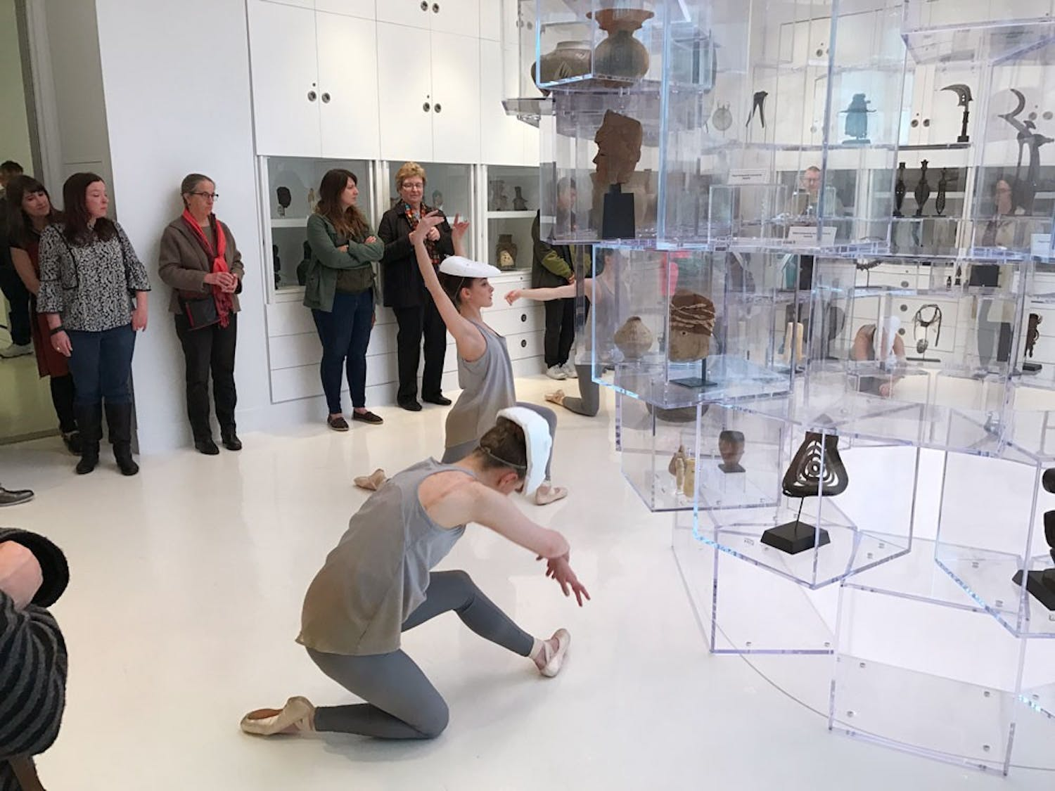 "Senior dance major Maggie Hansen (left) and junior dance major Mary Pappagallo (right) perform during the opening night of ""The Language of Objects"" exhibition at UB's Anderson Gallery."