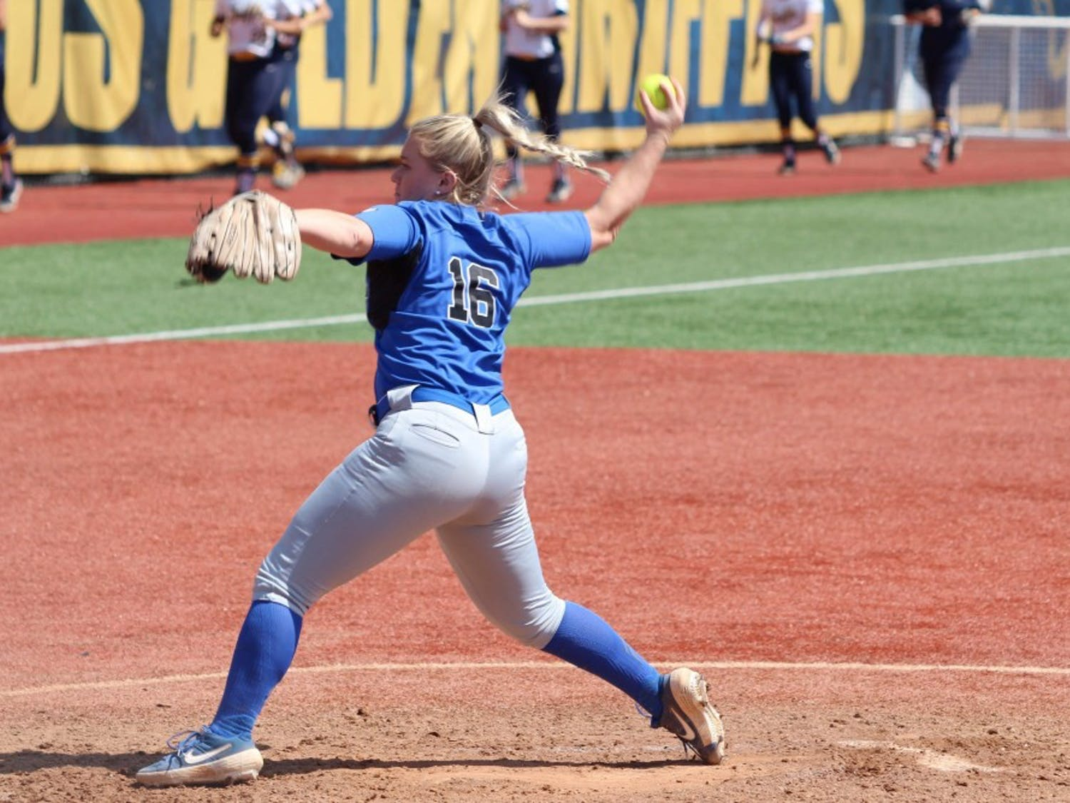 Senior pitcher Ally Power winds up to throw. Power went five innings, surrendering two runs and striking out four as the Bulls lost game one of their doubleheader.