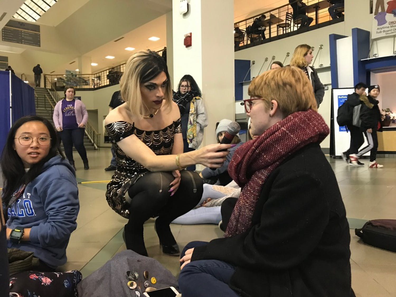 Drag queen Alice Raige answered questions from the community during the Q&A portion of the drag show on Friday.