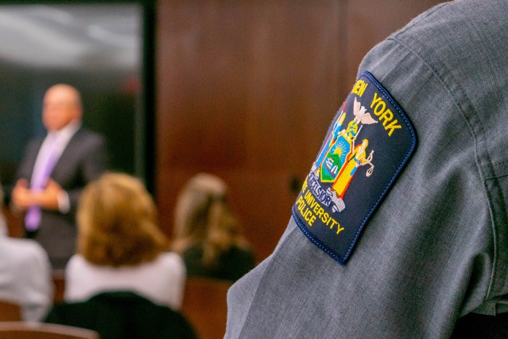<p>Faculty members and University Police Officers attended a community forum in the Buffalo Room Tuesday, to discuss what qualifications and personality traits they want in a new chief of police.&nbsp;</p>