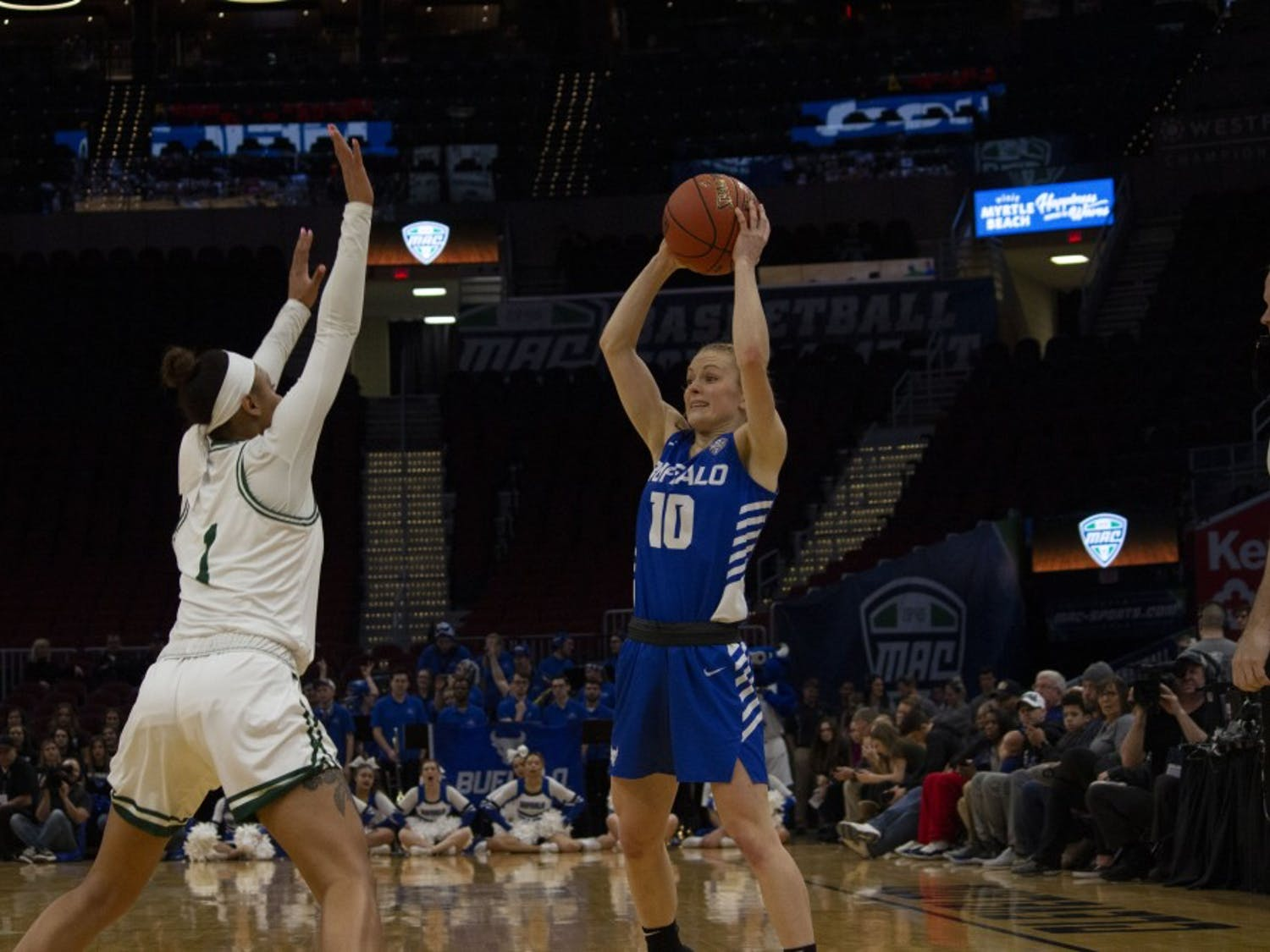 The UB women's basketball team became 2019 MAC champions Saturday in Cleveland. The Bulls beat Ohio 77-61.