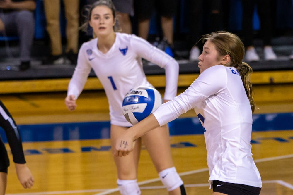 Sophomore outside hitter Stacia Gollogly during a recent match. UB has dropped four consecutive competitions.