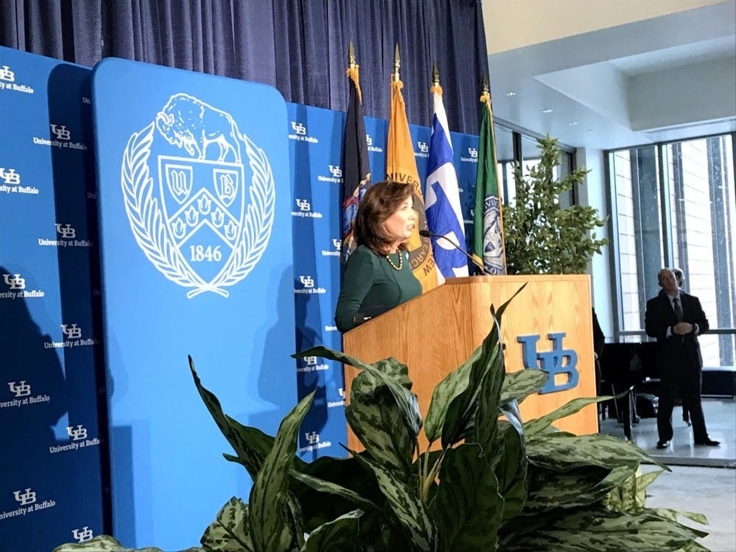 New York State Gov. Kathy Hochul speaks to attendees at the grand opening of the Jacobs School of Medicine and Biomedical Sciences' downtown campus.