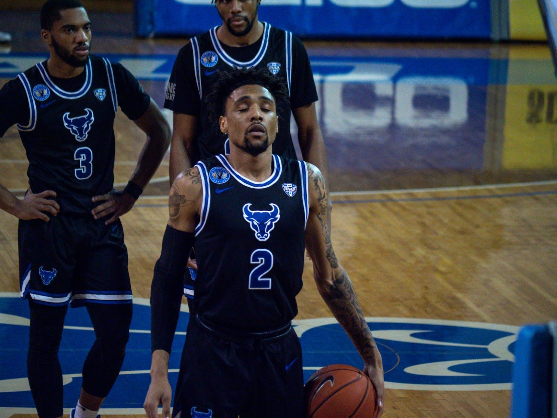 UB men's basketball guard Keishawn Brewton prepares to shoot a free throw during a recent game against Ohio University.