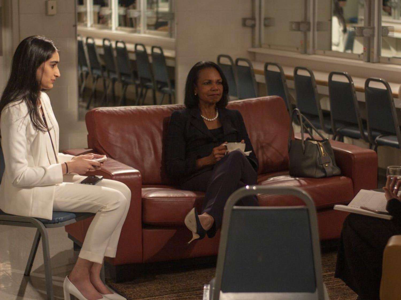 Former Secretary of State Condoleezza Rice speaks with Spectrum editors on Wednesday evening.