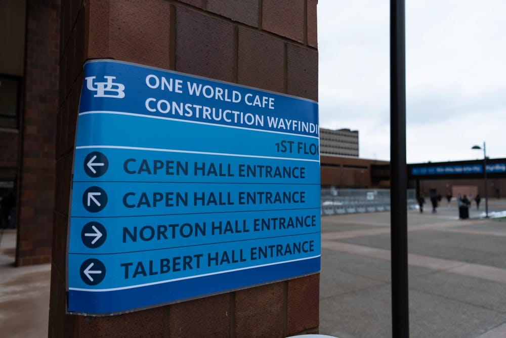 <p>Construction of One World Café blocks the entrance to Capen Hall. Printers in the first floor of Capen Hall are also relocated on the second floor.</p>