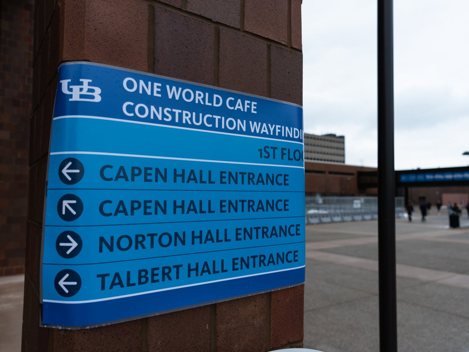 Construction of One World Café blocks the entrance to Capen Hall. Printers in the first floor of Capen Hall are also relocated on the second floor.