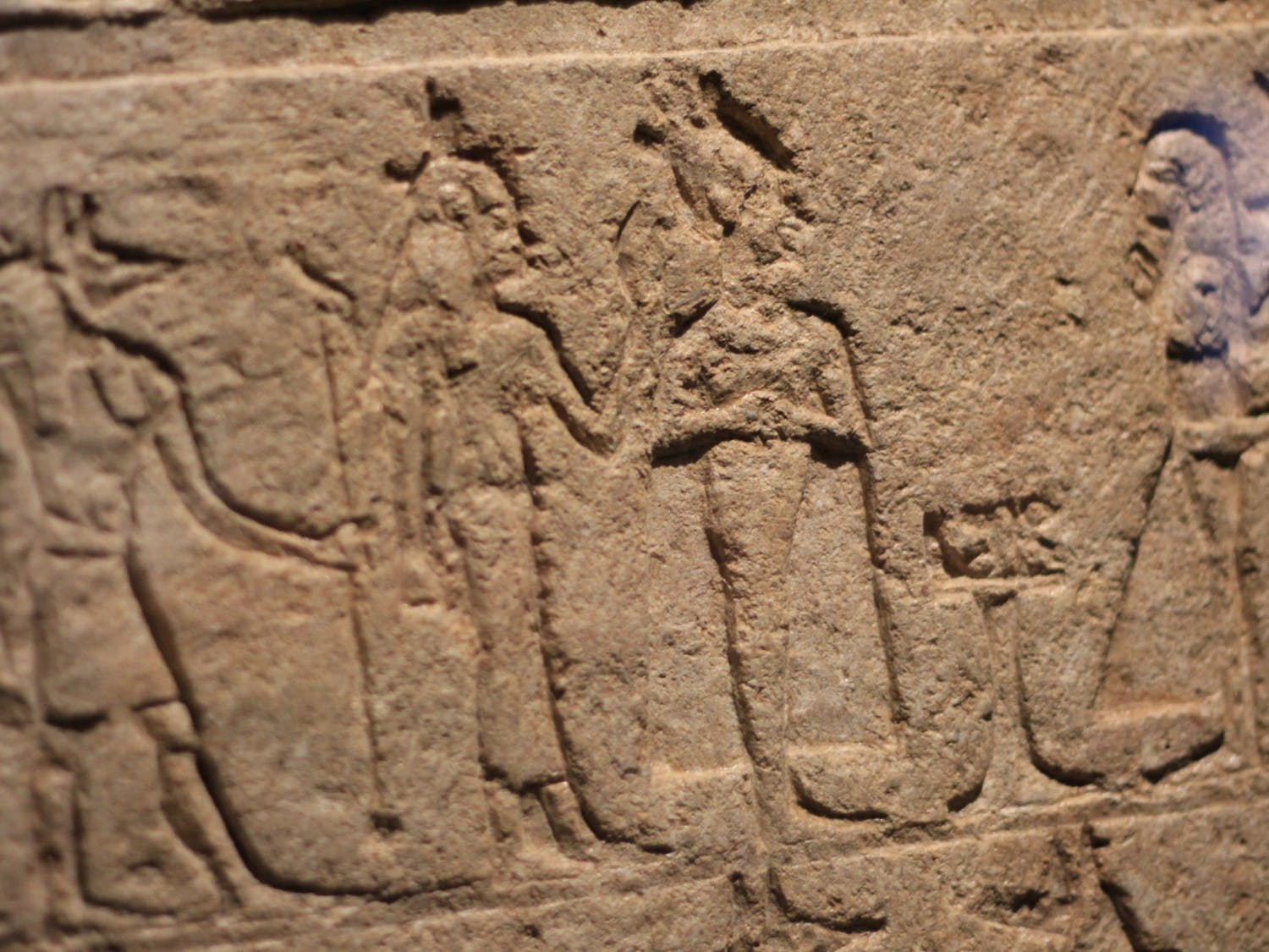 An example of the hieroglyphic carvings that often decorated the walls of Egyptian tombs.