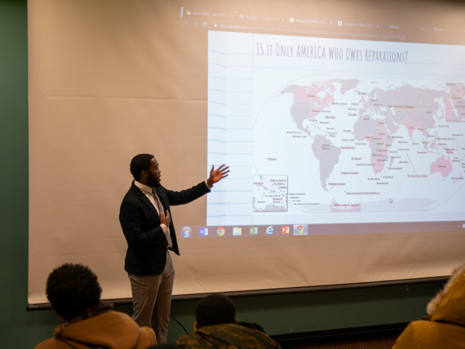 BSU and CSA presented videos by Marianne Williamson and Dr. Umar Johnson speaking about reparations. The reparations discussion was held at Student Union on Thursday.