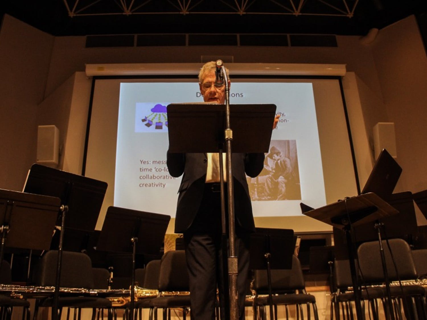 """Bill Bruford, former drummer of Yes and King Crimson, spoke at Baird Hall on Monday about his new book """"Uncharted: Creativity and the Expert Drummer."""""""