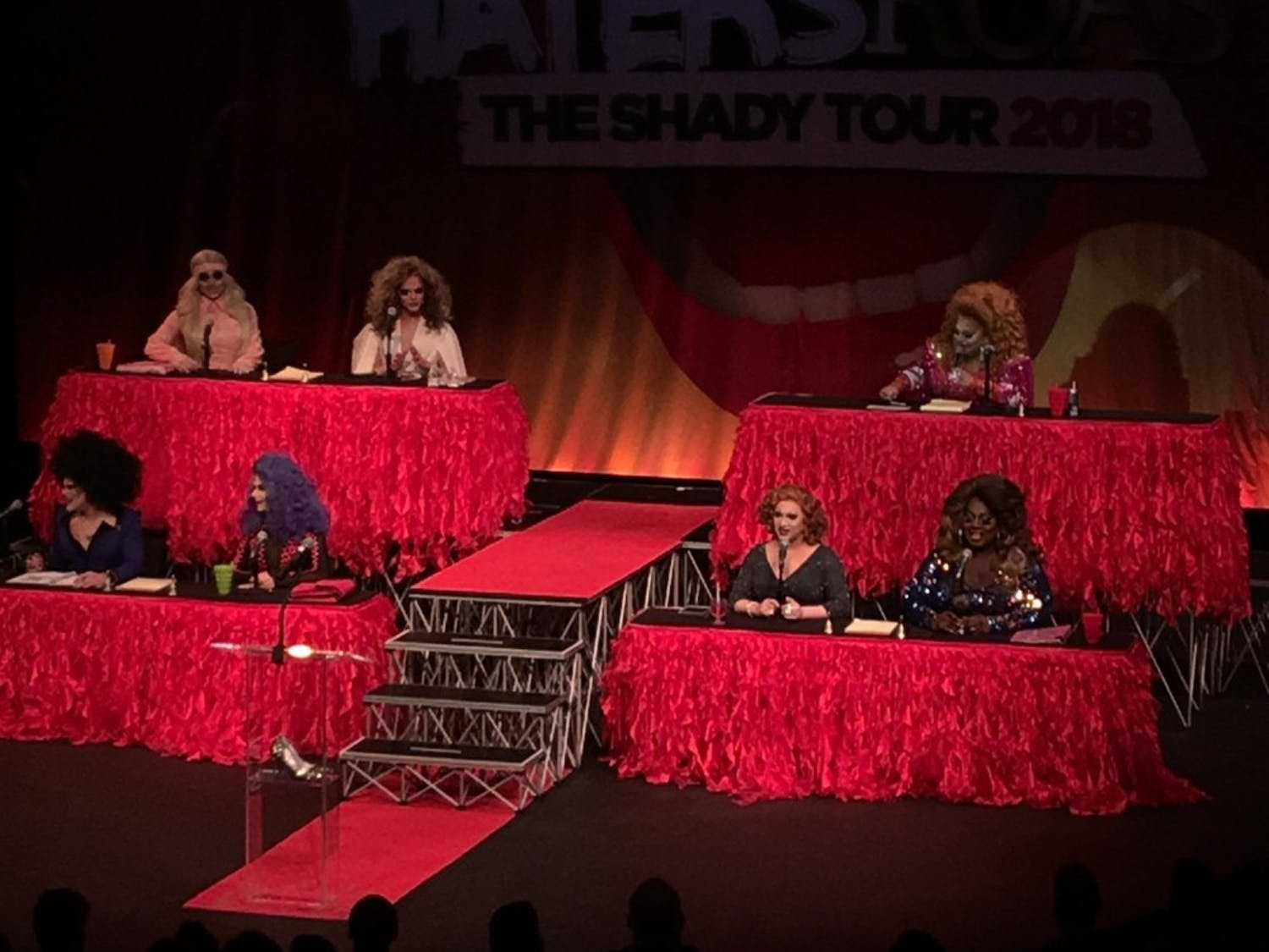 """Contestants from """"RuPaul's Drag Race"""" appeared at Shea's 710 Theatre for the Haters Roast.The drag queens traded insults with each other and the audience throughout the night."""