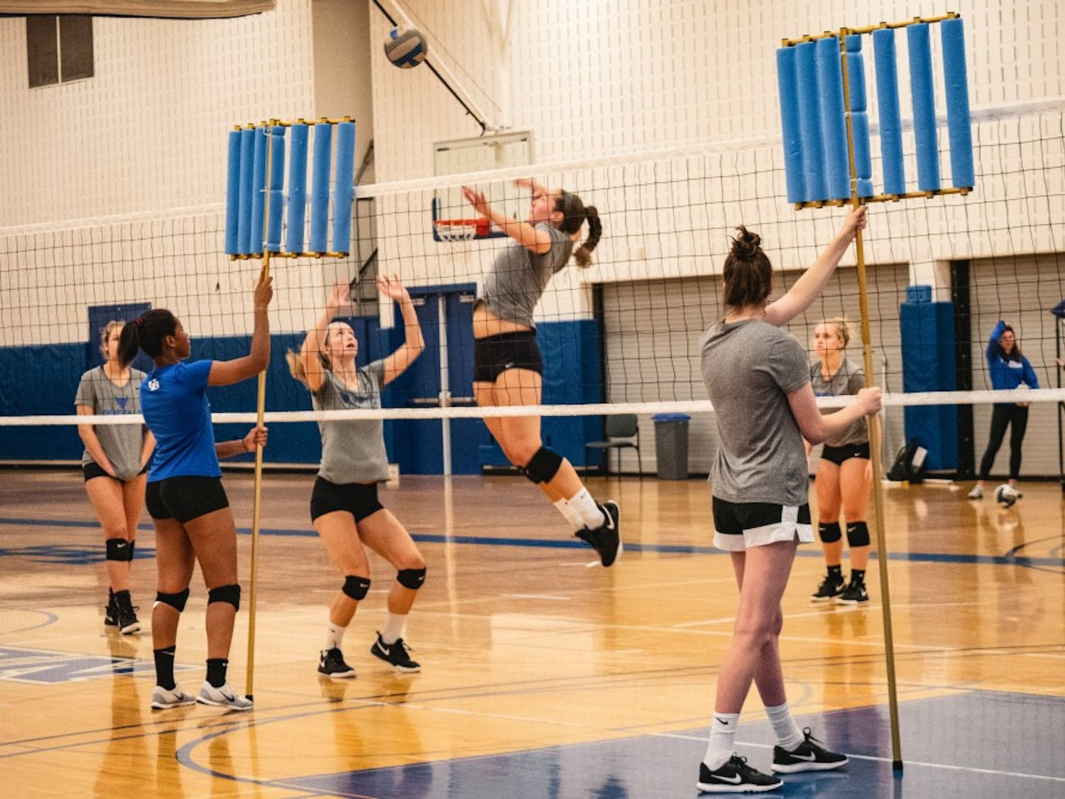 A Bull gets ready to spike the ball at volleyball practice.
