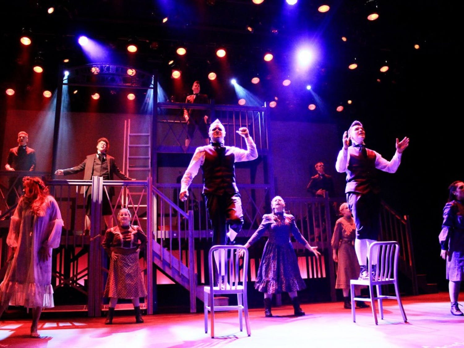"""The cast of MusicalFare's """"Spring Awakening"""" performs """"Totally F*cked"""" at Shea's 710 Theatre. """"Spring Awakening"""" is a controversial rock musical that explores teen sexuality in 19th century Germany."""