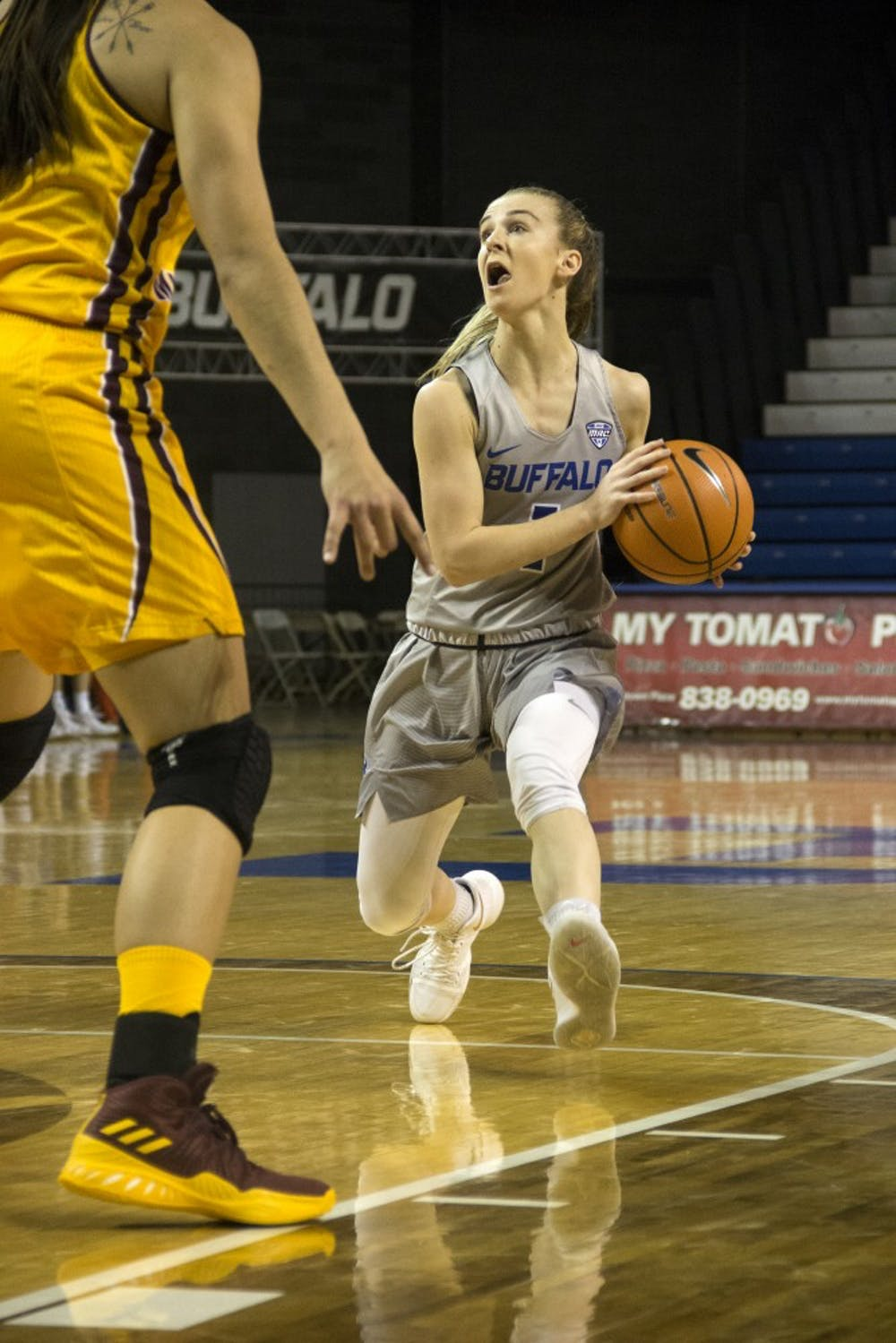 <p>Senior guard Stephanie Reid in the game against the Chippewas. See the results on the back page from Buffalo's big win.</p>