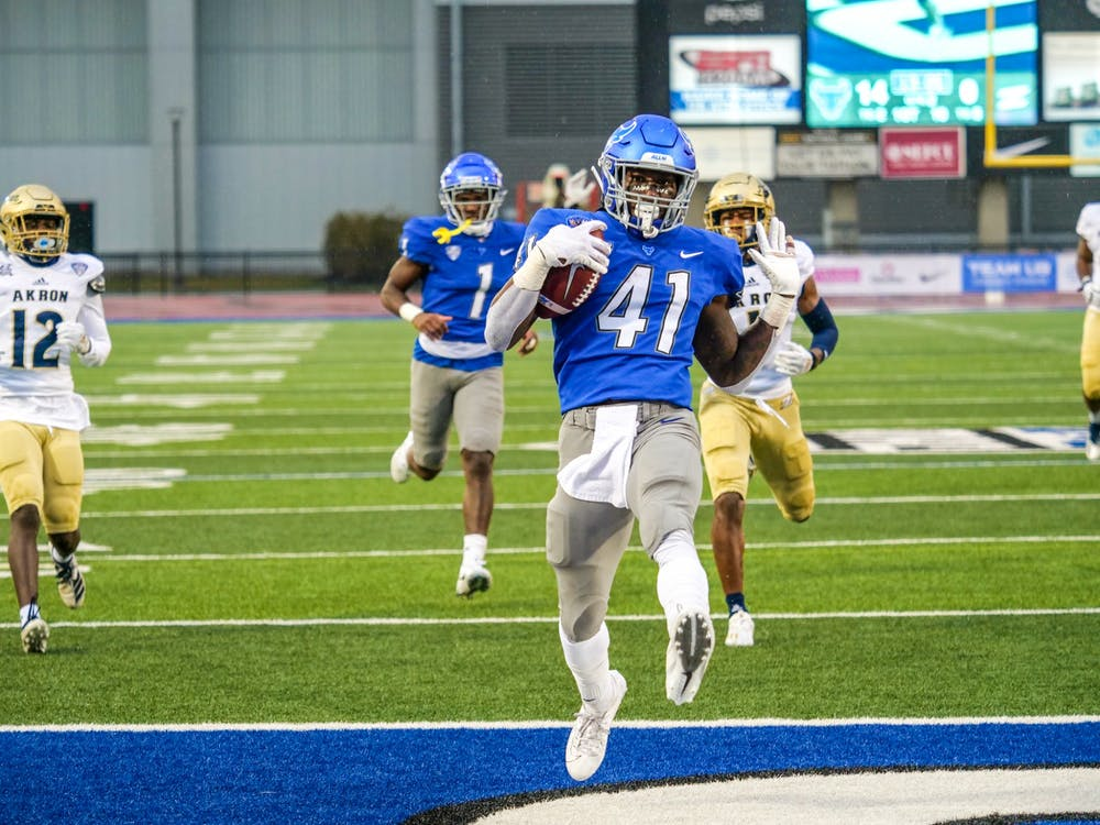 <p>Junior running back Kevin Marks wore the late Solomon Jackson's No. 41 on Saturday afternoon.</p>