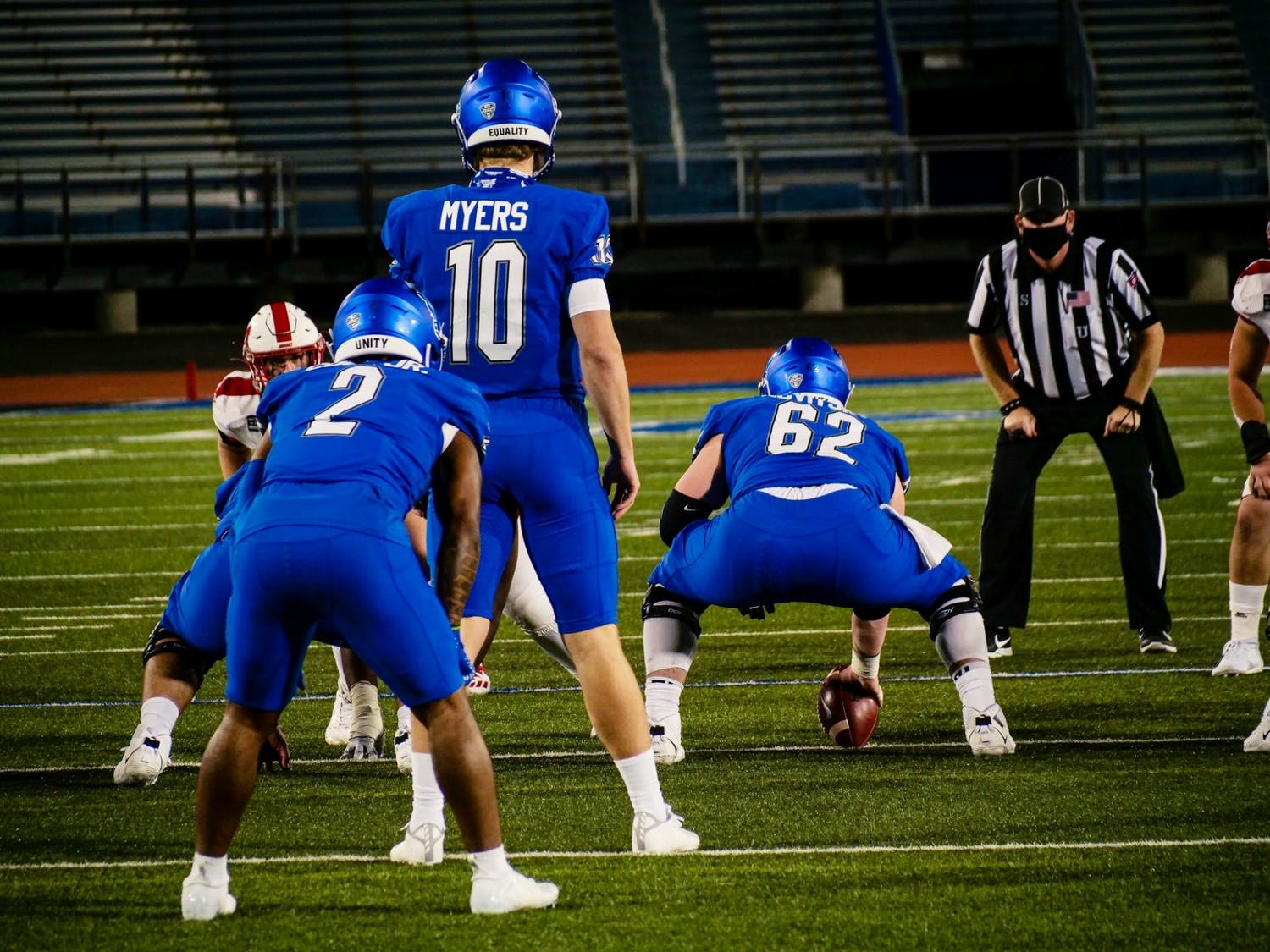 Junior center Mike Novitsky (62) is one of five UB football players to enter the NCAA transfer portal since Lance Leipold left Buffalo for Kansas.