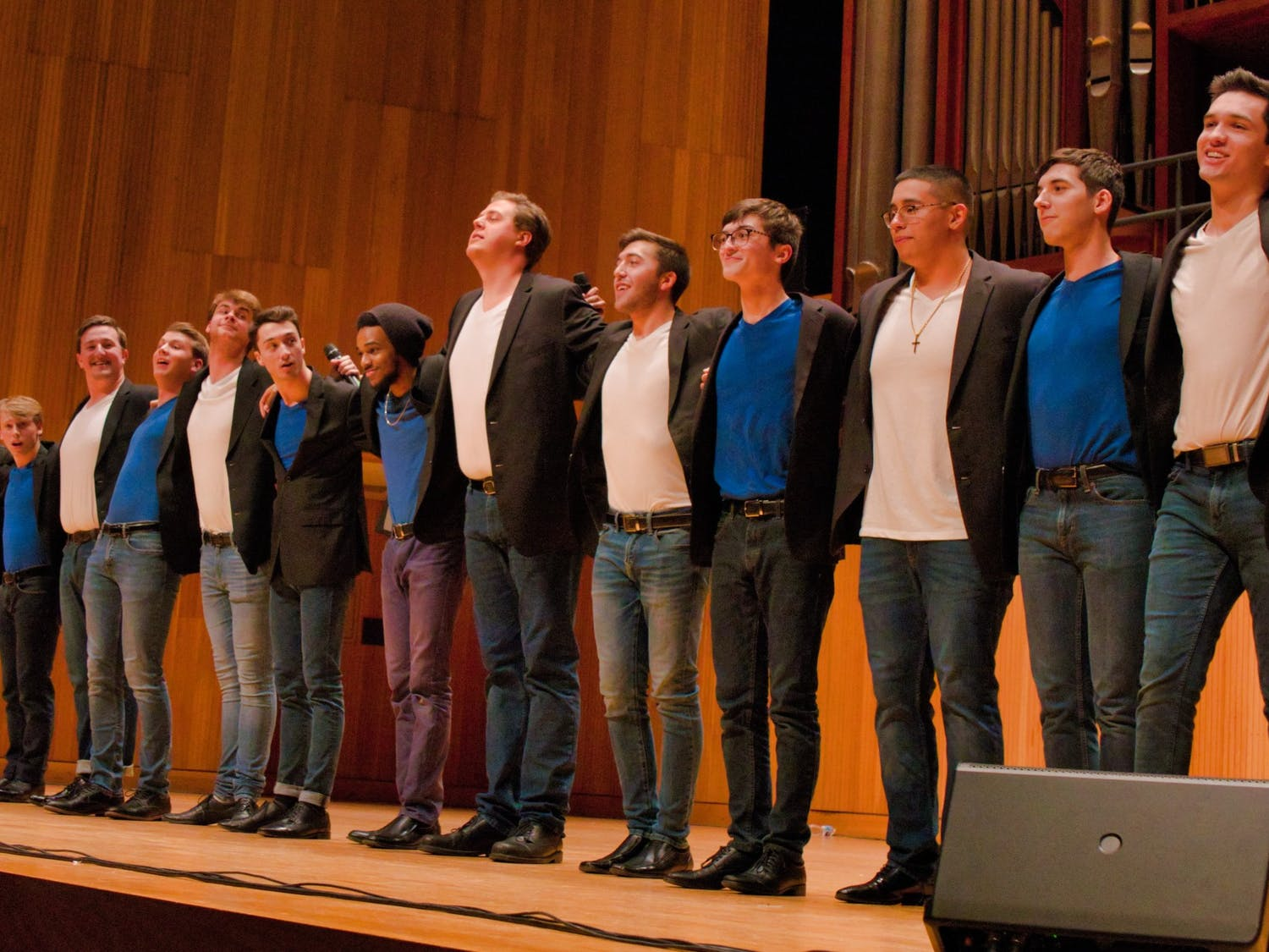 The Buffalo Chips assemble together on stage after their annual Fall Classic at Slee Hall on Saturday. The Chips celebrate their 25th anniversary next year.