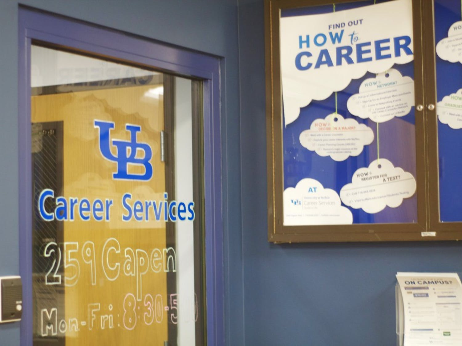 The Career Services office space at 259 Capen Hall. UB's new career program, Here to Career, will work alongside Career Services to give students a better experience at school.