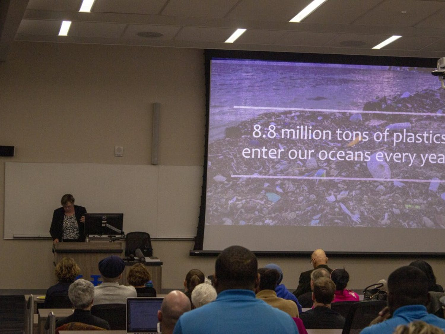 Judith Enck, a former Environmental Protection Agency regional administrator under the Obama administration, discusses the dangers of single-use plastics. Enck visited UB to discuss Beyond Plastics, a program which aims to reduce plastic pollution.