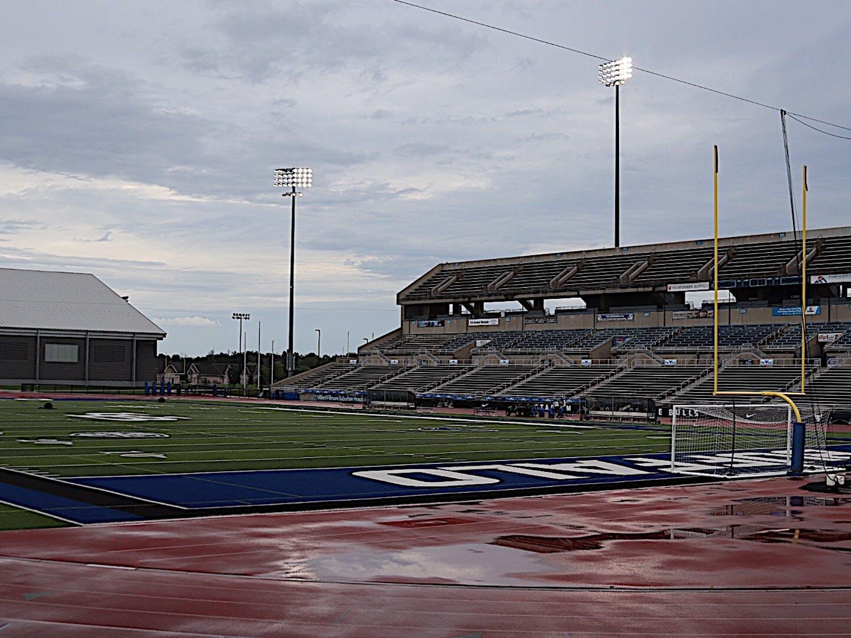 UB Stadium on a rainy day.