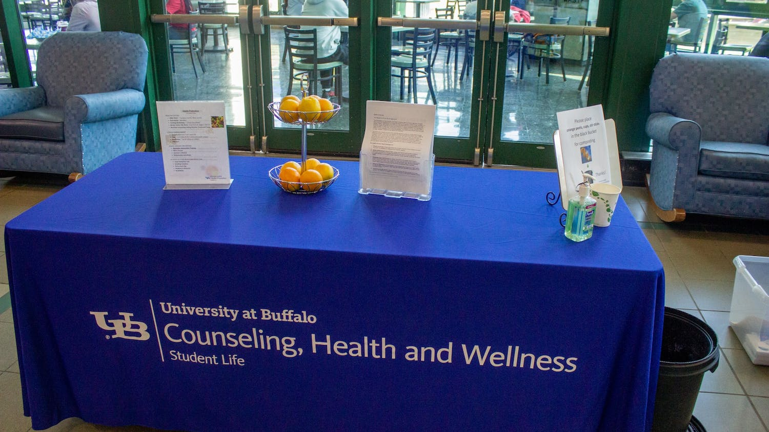 A Counseling, Health and Wellness booth provides information on healthy living.