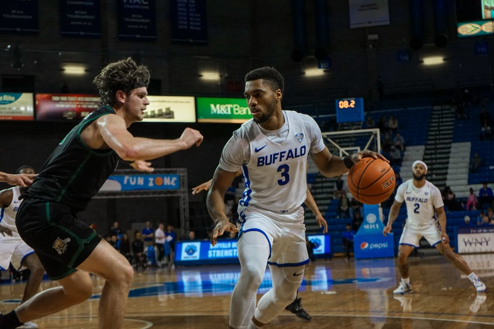 Junior guard Jayvon Graves holds his own during a previous home game this season. Graves has entered his name into the 2020 NBA draft.