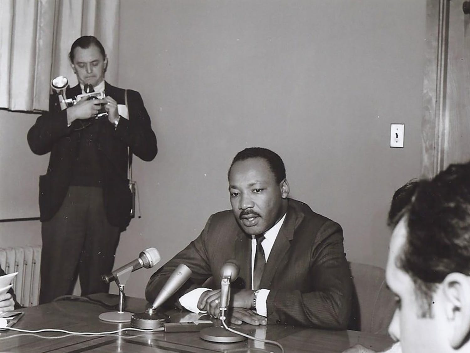 """Dr. Martin Luther King Jr. delivered his """"The Future of Integration"""" address at Kleinhans Music Hall, 50 years ago. The address, sponsored by GSA and SA, offered the reverend's take on racial relations in the country to a crowd of over 2000 Buffalonians."""