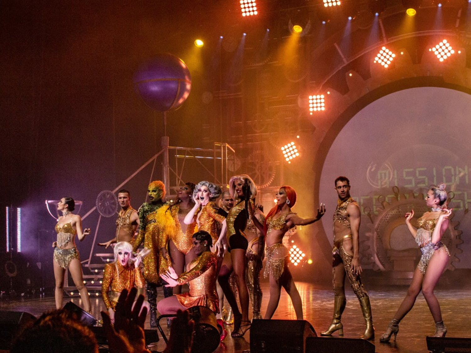 "Drag queens and performers closing RuPaul's drag race 2019  ""Werq the World Tour"" at UB."