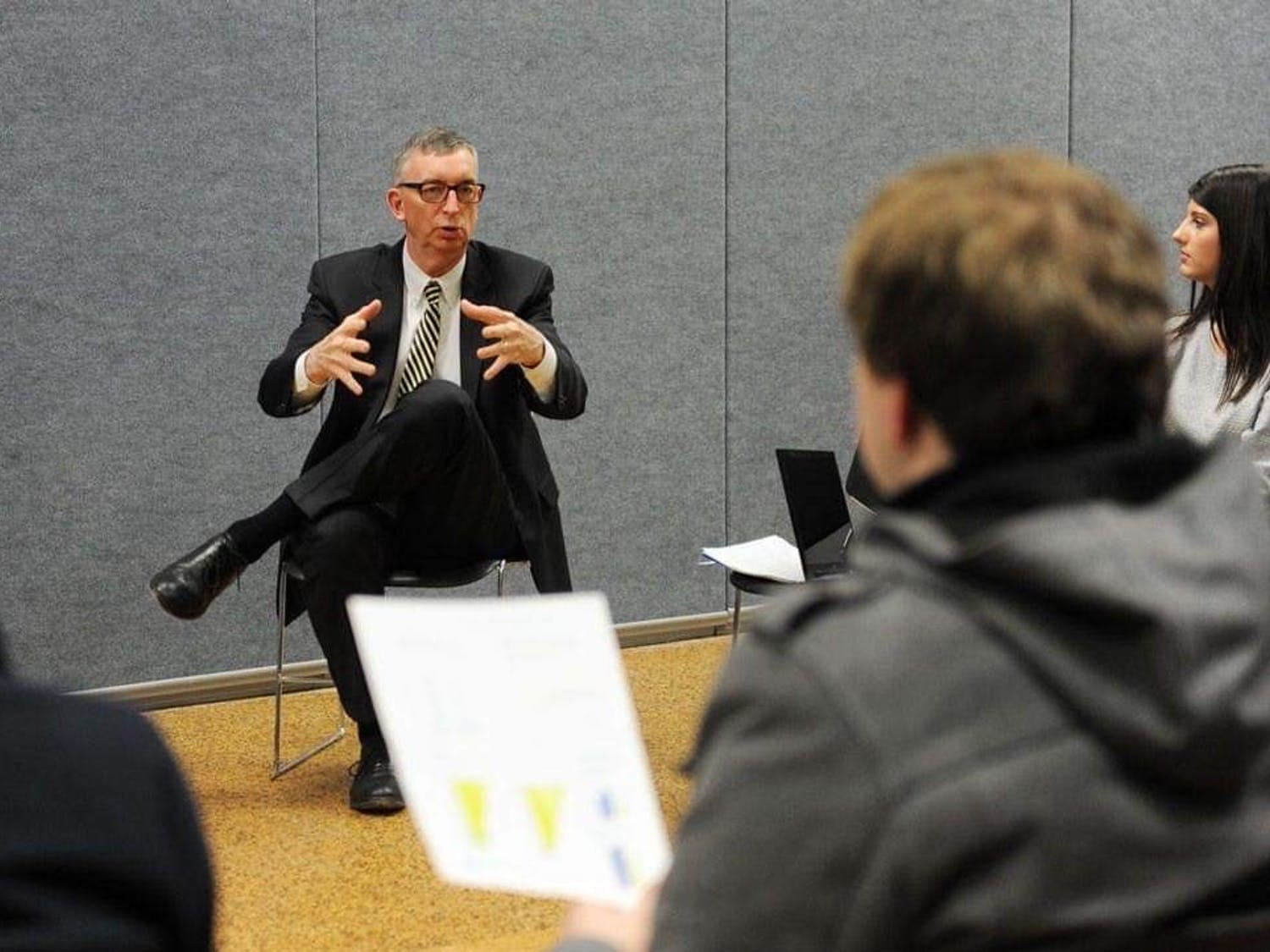 A. Scott Weber, then-Senior Vice Provost for Academic Affairs, at a tuition planning meeting in 2015.