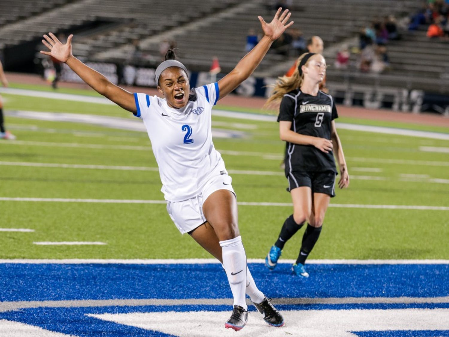 N'DeaJohnson celebrates after scoring a goal against Binghamton. It was the first goal Johnson scored in her UB career, after missing the last two seasons with various injuries.