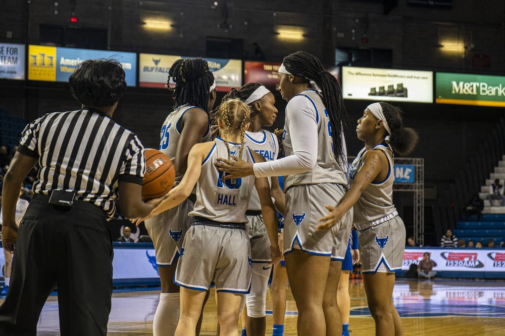 <p>The women's basketball team huddles up before an offensive possession.</p>