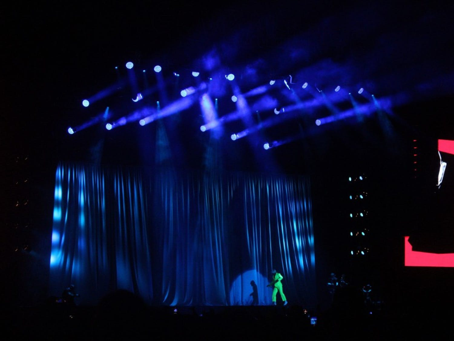 Tyler, the Creator, or IGOR, kept audience members entertained Friday with his neon-green suit and blonde wig as he played through the No.-1 album in the country.