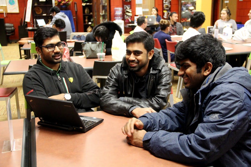 <p>Mithil Kadam, Celaster Denisraj and Arjun Sivaprakasam, graduate students in industrial and electrical engineering, respectively, sit in UB's Intercultural and Diversity Center. The three weighed in on international student enrollment at UB, and offered input on the decline.</p>