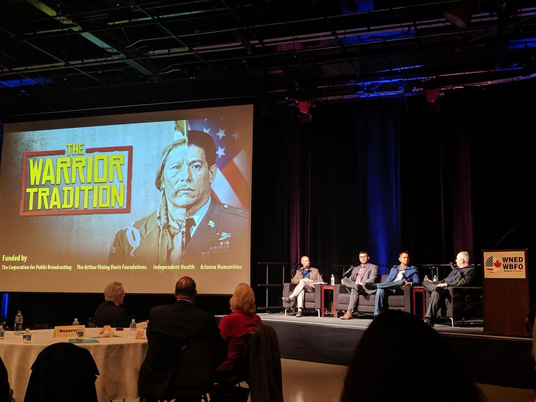 "(L to R) Larry Hott, director-producer, ""The Warrior Tradition;"" Calen Abrams (Seneca), director-producer, ""Art, Honor & Service;"" DJ Vanas (Odawa) motivational storyteller; and John Grant, chief program officer WNED, ""The Warrior Tradition"""