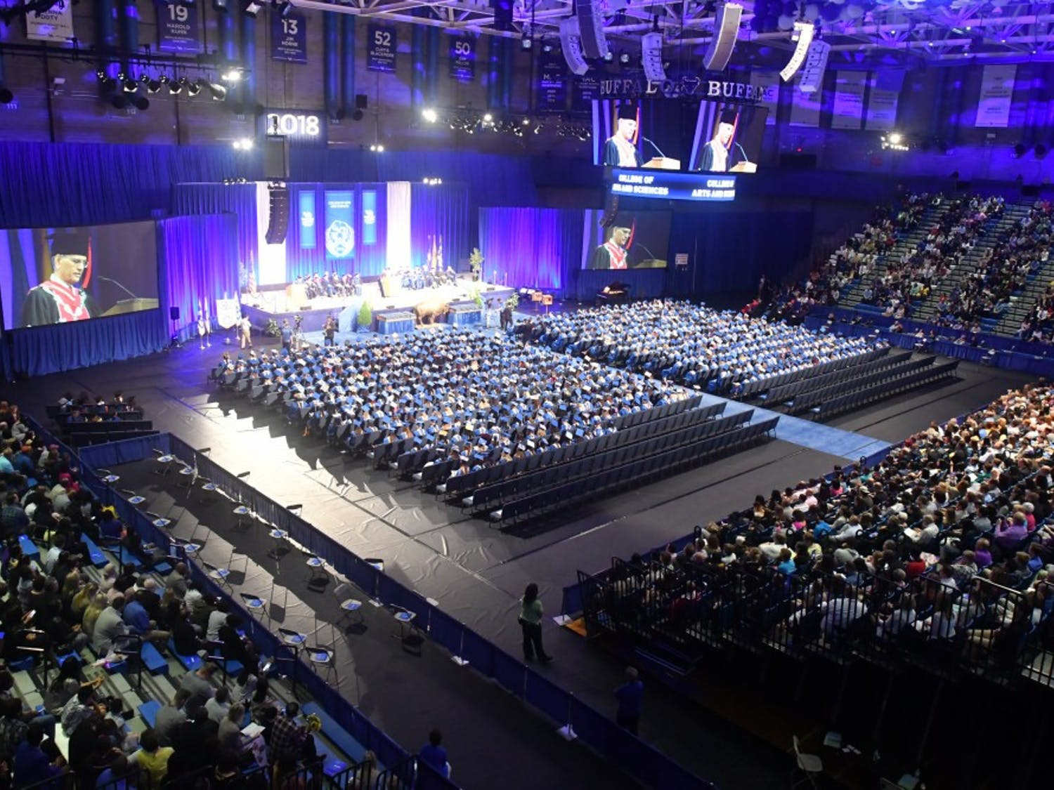 Alumni Arena during one of UB's commencement ceremonies. Hours of labor go into each ceremony so they can happen right after each other.