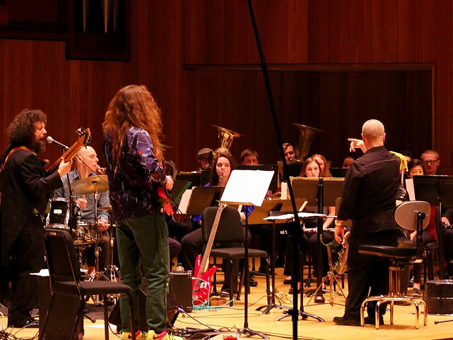 The UB Concert Band, led by Director Jon Nelson, and the Genkin Philharmonic took the stage at Slee Recital Hall Tuesday night. The two groups put on an exciting show, despite their visible differences.