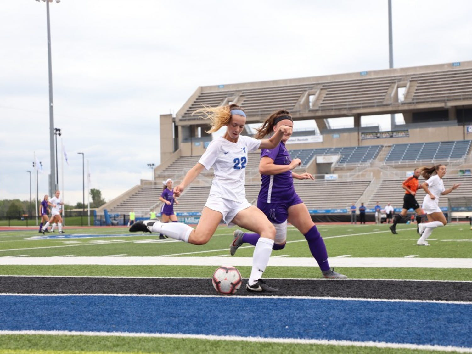 Tess Ford goes in for a challenge to win the possession back for UB.