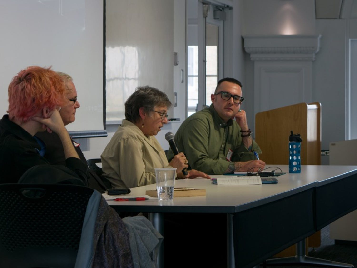 "Panelists discuss UB's and Buffalo's ""radical history"" on Friday in Hayes Hall. Friday's symposium featured a number of panelists who recounted the histories of feminist and queer cultures in the Queen City."