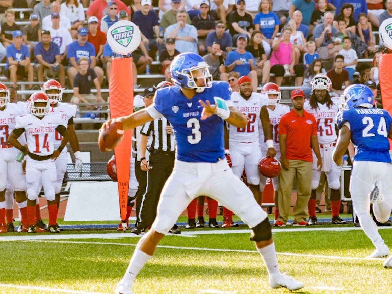 Former Bulls quarterback Tyree Jackson winds up for a throw last season. Jackson is now fighting for a spot on the Buffalo Bills roster.