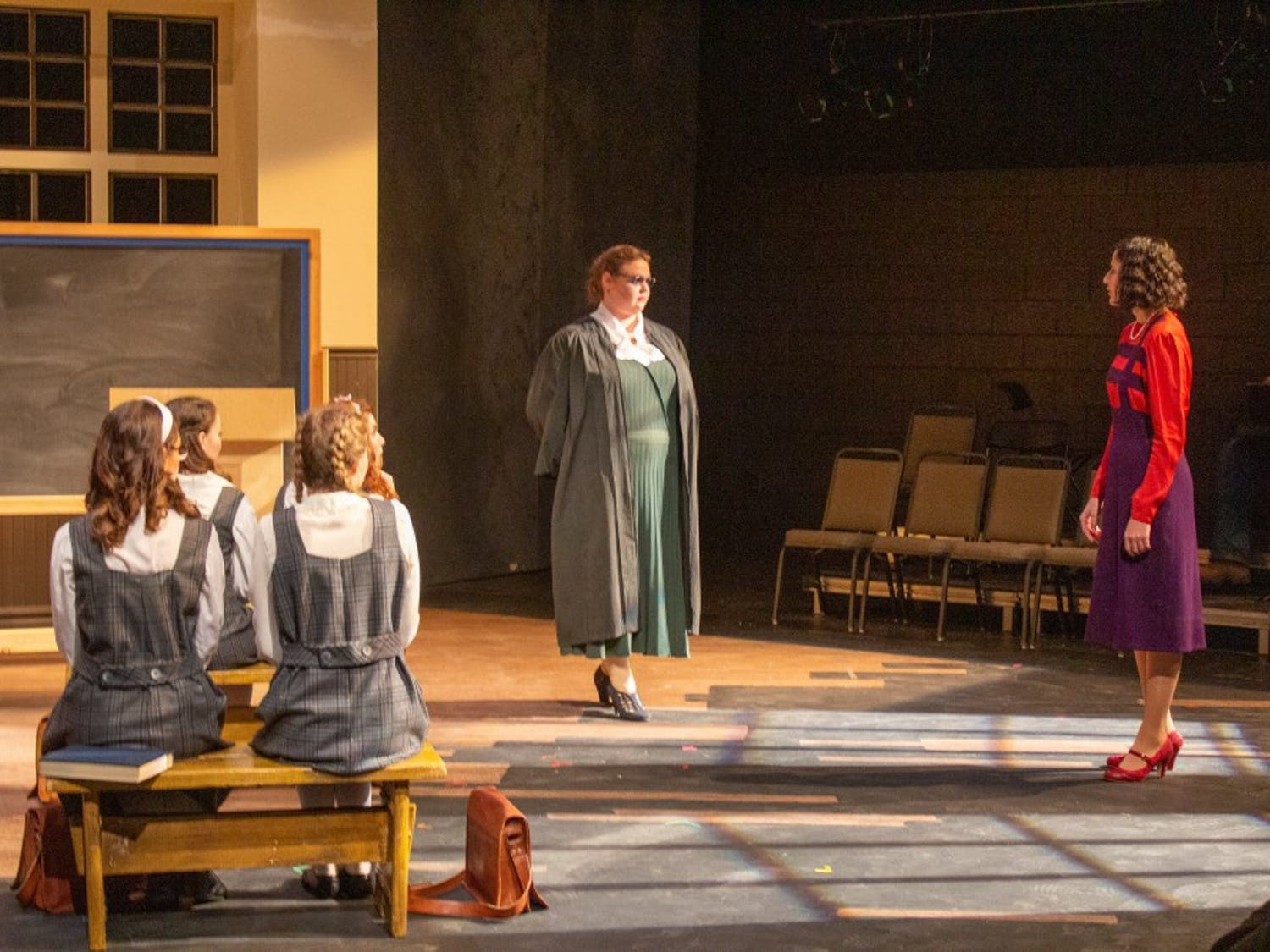 Actors and actresses rehearse their part in The Prime of Miss Jean Brodie on Monday. The rehearsal is in preparation for the opening show in the CFA Black Box Theatre on Wednesday.